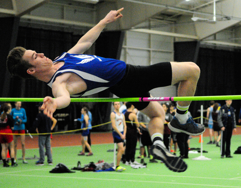 Erskine's Chris Weymouth competes in the high jump during the Kennebec Valley Athletic Conference indoor track championship meet last season at Bowdoin College in Brunswick.