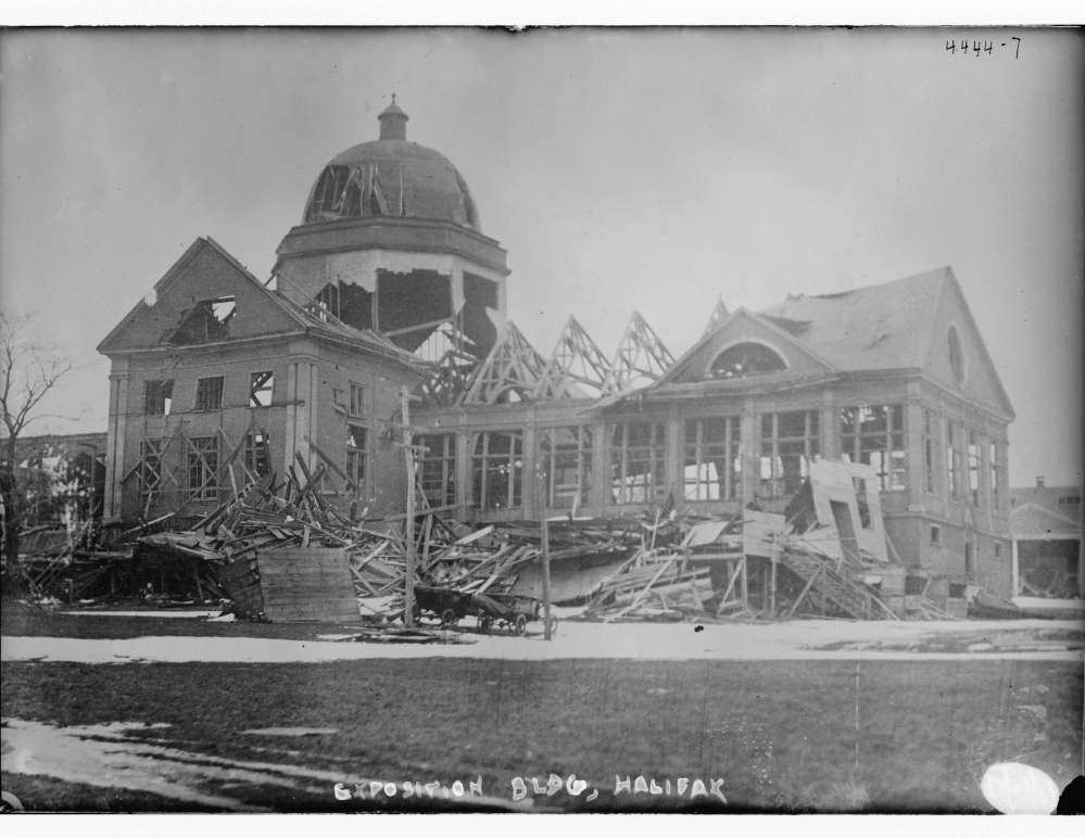 Main building of the Nova Scotia Provincial Exhibition, Halifax, Canada, damaged in the Dec. 6, 1917, explosion.