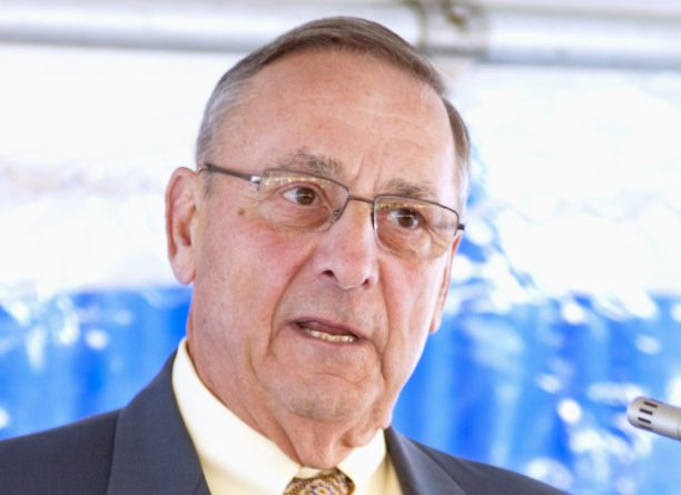 Gov. Paul LePage addressed members of the Mid-Maine Chamber of Commerce at a breakfast Thursday morning at Thomas College in Waterville, saying that Maine's property taxes were high because so much property had been taken off tax rolls. In addition he said the investment in MaineGeneral Medical Center in Augusta was a