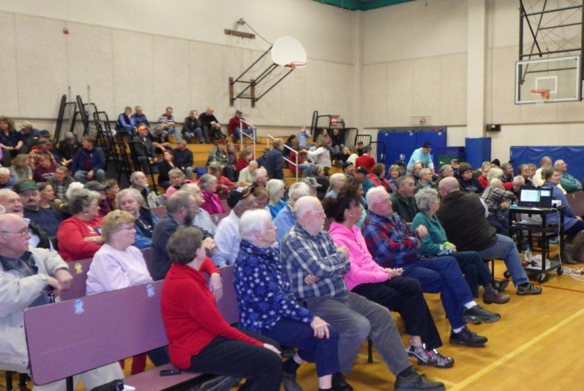 The gym at Cape Cod Hill Elementary School in New Sharon was filled with residents Monday night for a special town meeting and vote on a $1.8 million fire station/town office project. It was rejected, 58-71.
