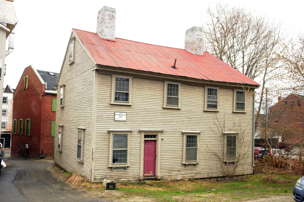 The Dummer House in Hallowell, seen on April 25, is proposed to be relocated off land near Central Street to pave the way for construction of a new municipal parking lot.