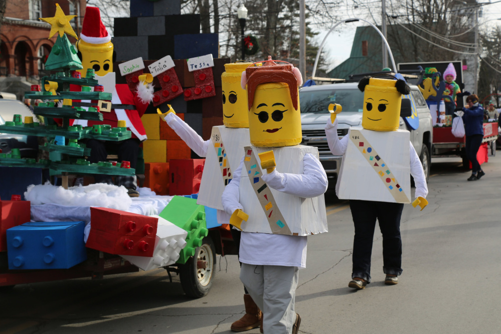 Girl Scout Troop 489 featured Legos in its Chester Greenwood parade entry.