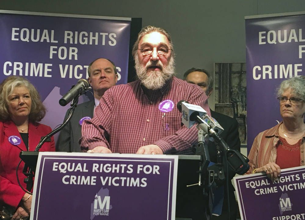 Arthur Jette, leader of the Maine chapter of Parents of Murdered Children, speaks in favor of Marsy's Law for Maine at an April news conference. Jette, whose toddler grandson was killed in 1999, is one of the many Maine crime victims who the bill seeks to empower.