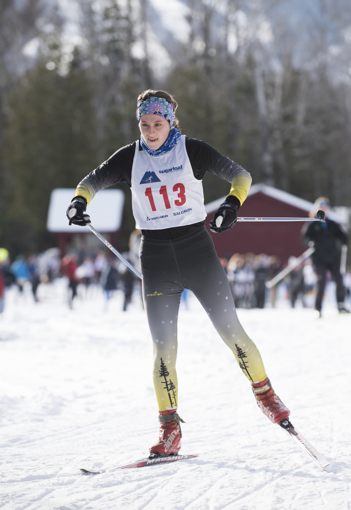 Maranacook's Laura Parent competes in the Billy Chenard Memorial Nordic ski race Saturday at the Sugarloaf Outdoor Center.