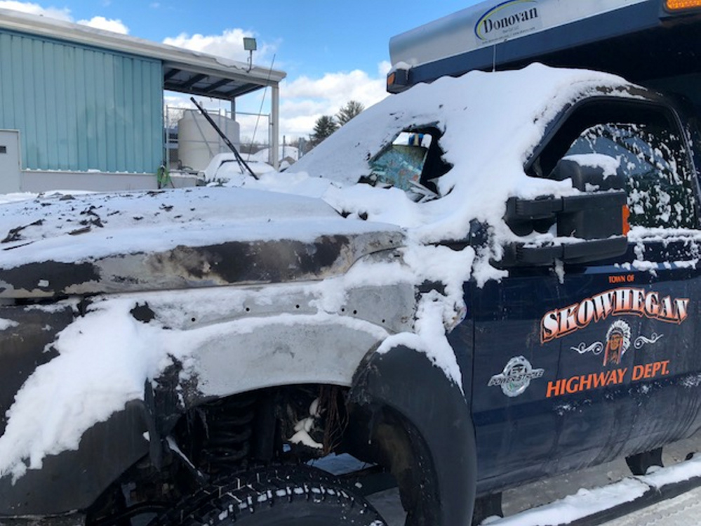 A Skowhegan Highway Department 2015 Ford F550 plow truck burned up during the Christmas Day snowstorm Monday. Flames burned hot enough to blow out the windshield. No one was injured.