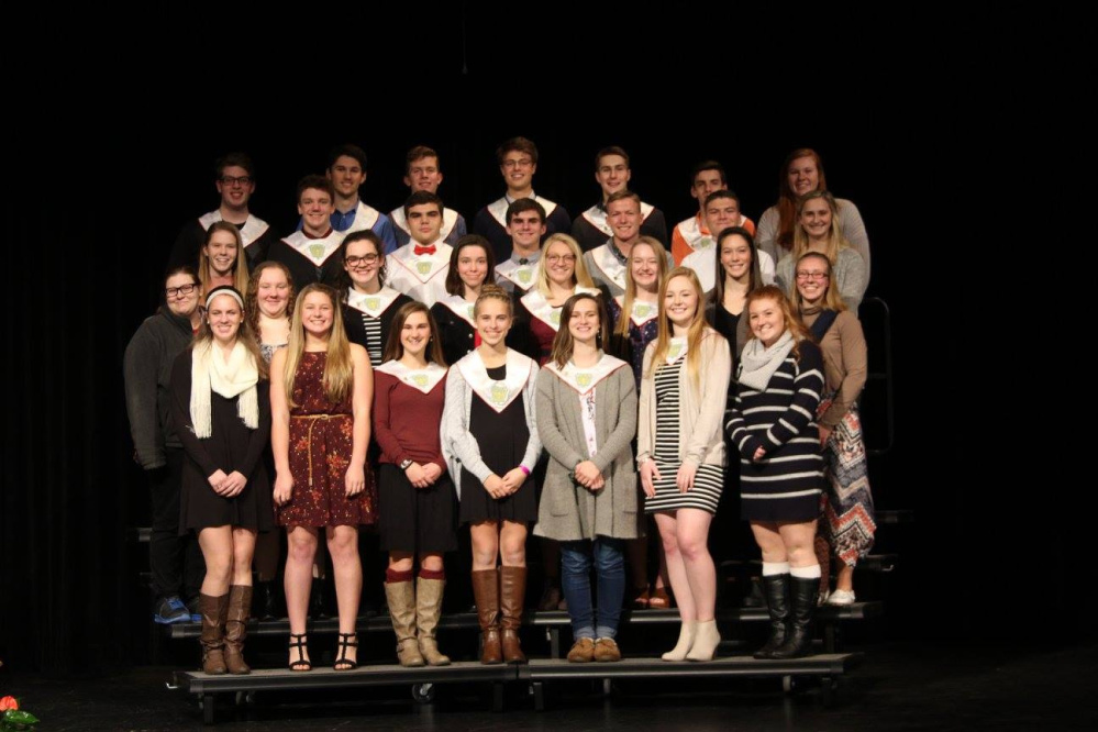 Cony High School chapter of the National Honor Society, in front, from left are Alycia Lyon, Haley Gagne, Allyson Waller, Regan Wing, Anna Stolt, Grace Seamon and Cari Hopkins. Second row, from left are Mackenzie Stephenson, Abby Lenko, Gabrielle Low, Zinaida Gregor, Gabrielle Benson, Taylor Davis, Olivia Varney and Tara Jorgensen. Third row, from left are Hannah Harris, Nathaniel Berry, Nicholas Mills, Jacob Mills, Caleb Richardson, Hayden Ouellette and Allee Cloutier. In back, from left are Matthew Birch, Nicholas Poulin, Alexander Farkas, Ian Bowers, Ryan Wheelock, Travis Nickerson and Lauren Coniff. Absent from photo are Brandon Gosselin and Talia Jorgensen.