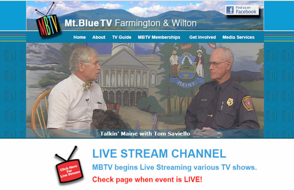 "Mt. Blue Community Access TV provides local shows such as ""Talkin' Maine with Tom Saviello."" Saviello, left, interviews Clyde Ross, deputy chief of Farmington Fire-Rescue. New programming and more sports will be streamed live in 2018 on the station."