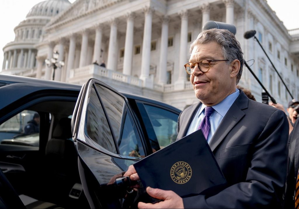 Sen. Al Franken, D-Minn., leaves the Capitol after speaking on the Senate floor Thursday. Franken said he will resign from the Senate in the coming weeks because of a wave of sexual misconduct allegations and a collapse of support from his Democratic colleagues.