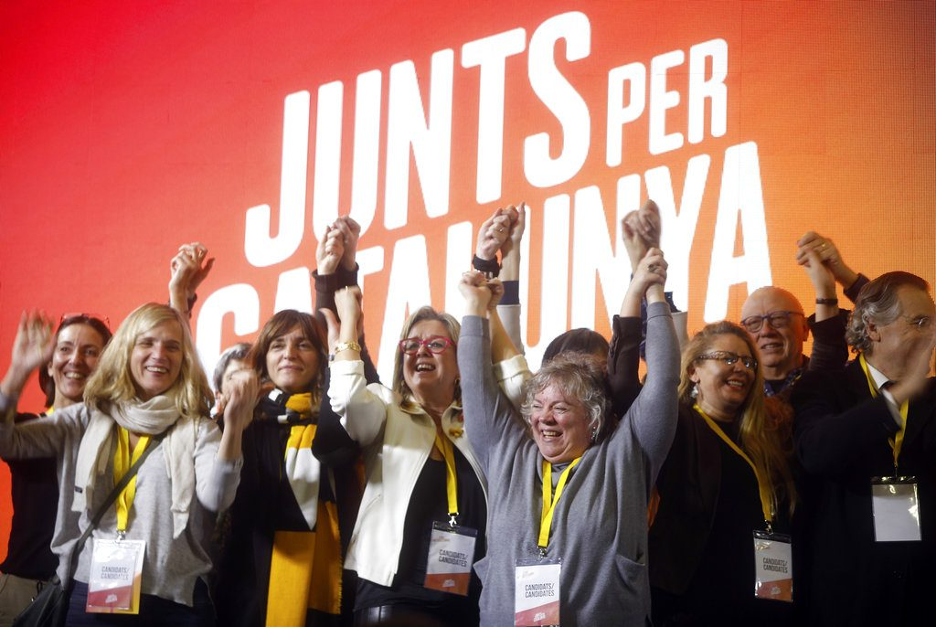 People at the Junts Per Catalunya – Together for Catalonia – party headquarters celebrate Catalan regional election results in Barcelona. The pro-secession bloc won a majority in Catalan regional elections, but the anti-independence Ciutadans (Citizens), led by 36-year-old lawyer Ines Arrimadas, won the highest number of votes for a single party.