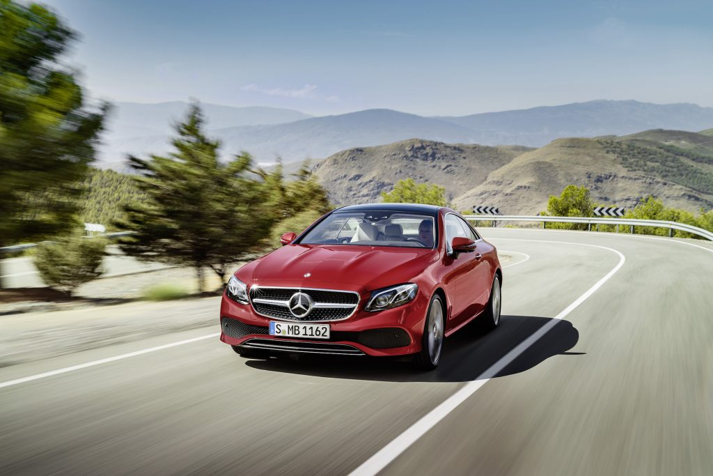 The 2018 Mercedes-Benz E400 coupe is powered by a 329-horsepower 3.0-liter twin-turbo V-6 engine mated to a nine-speed automatic transmission powering all wheels.