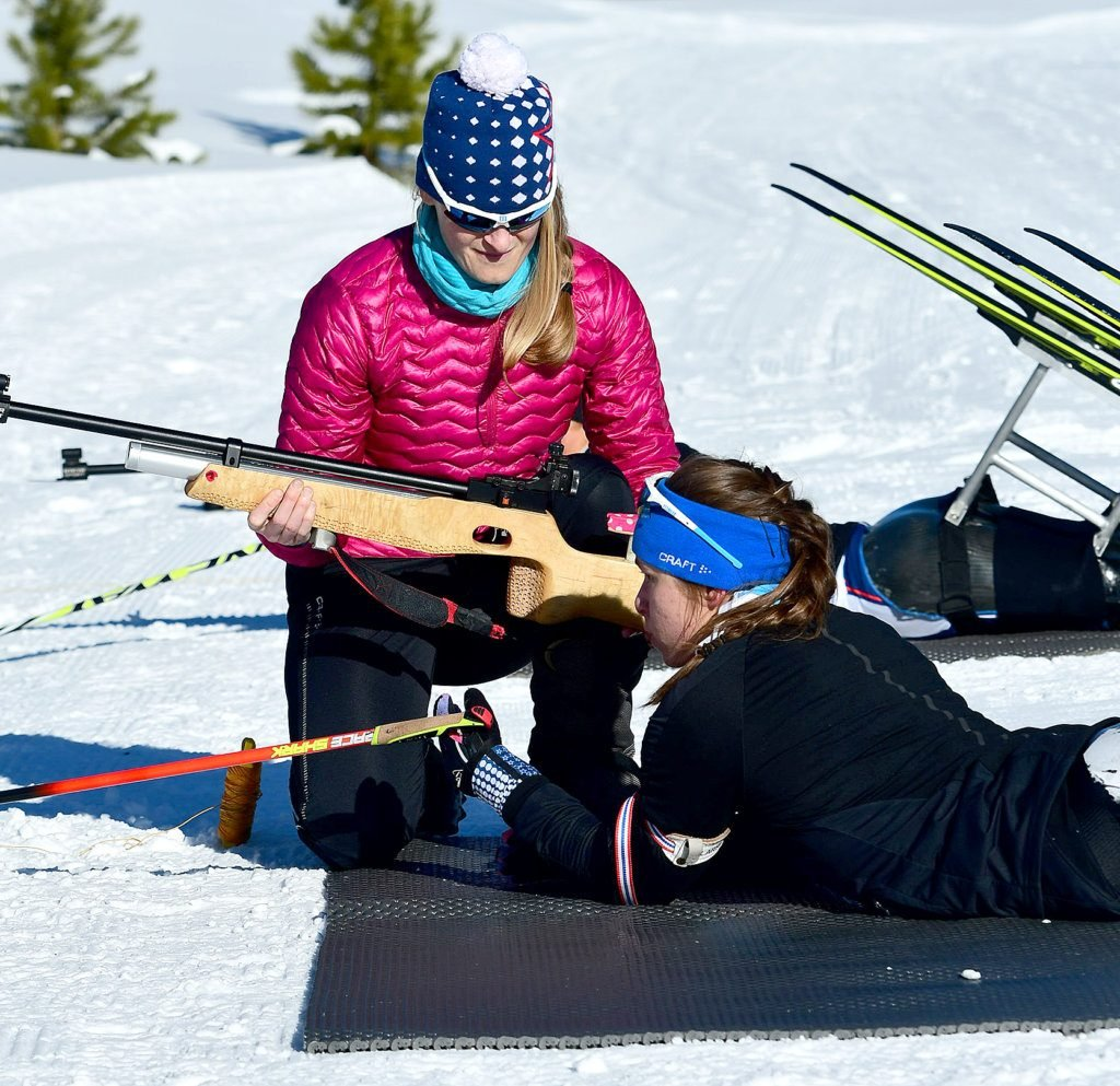 U.S. Paralympic Nordic Skiing head coach Eileen Carey, a Leeds native, works on marksmanship with Paralympian Oksana Masters during biathlon training in preparation of the 2018 Winter Paralympic Games in Pyeongchang, South Korea.