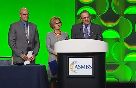 Dr. Jamie Loggins, left, medical director of bariatric surgery at Central Maine Medical Center, on stage at a conference last month with two of his former patients: First Lady Ann LePage and Gov. Paul LePage.