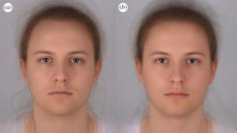 Scientists combined 16 photo portraits into one composite image. On the left, the composite