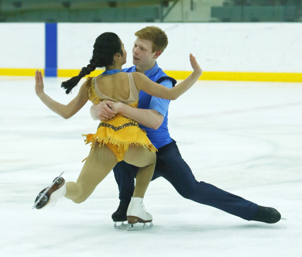 Franz-Peter Jerosch performs with Jade Hom in Falmouth last month. Their winning score in the national figure skating championships Tuesday was more than eight points ahead of a brother-sister team from Florida.