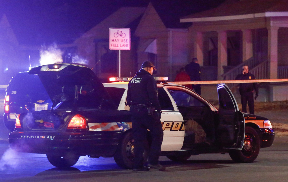"Police arrive at a ""swatting"" incident in  Wichita, Kan., Thursday night."