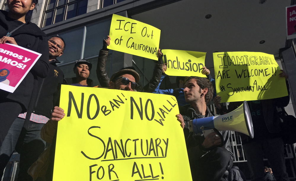 Protesters turn out in support of illegal immigrants in San Francisco last year as a court hears arguments on whether the Trump administration can punish sanctuary cities.