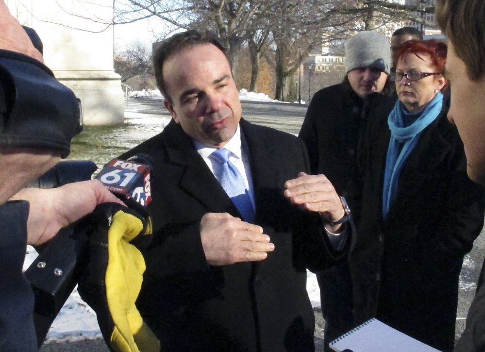 Bridgeport Mayor Joe Ganim with reporters after filing to run for governor in Hartford, Conn., on Wednesday. Later, an SUV in which he was a passenger was pulled over for speeding.