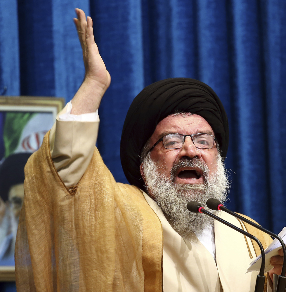 Iranian senior cleric Ayatollah Ahmad Khatami delivers his sermon during Friday prayers in Tehran.