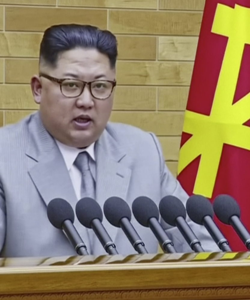 North Korean leader Kim Jong Un delivers his annual New Year's address last Monday. KRT via AP Video