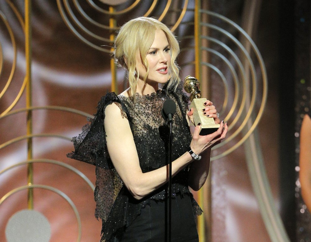 "Nicole Kidman accepts the Golden Globe Award for best performance by an actress in a limited series or motion picture made for TV for her role in ""Big Little Lies,"" in Beverly Hills, Calif., on Sunday."
