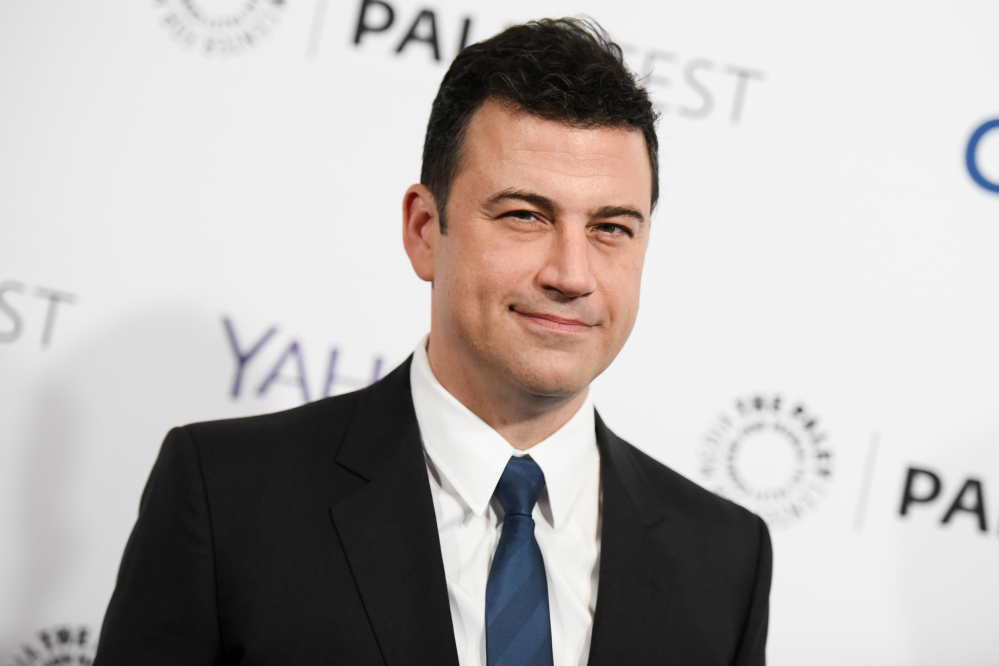 Jimmy Kimmel, who will host this year's Oscars, watched as Seth Meyers hosted Sunday's Golden Globes.