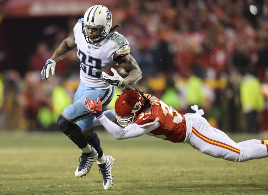 Safety Ron Parker of the Kansas City Chiefs found out last weekend just how hard it is to bring down Derrick Henry of the Tennessee Titans in the open field. The Patriots must find a way to limit Henry on Saturday night.