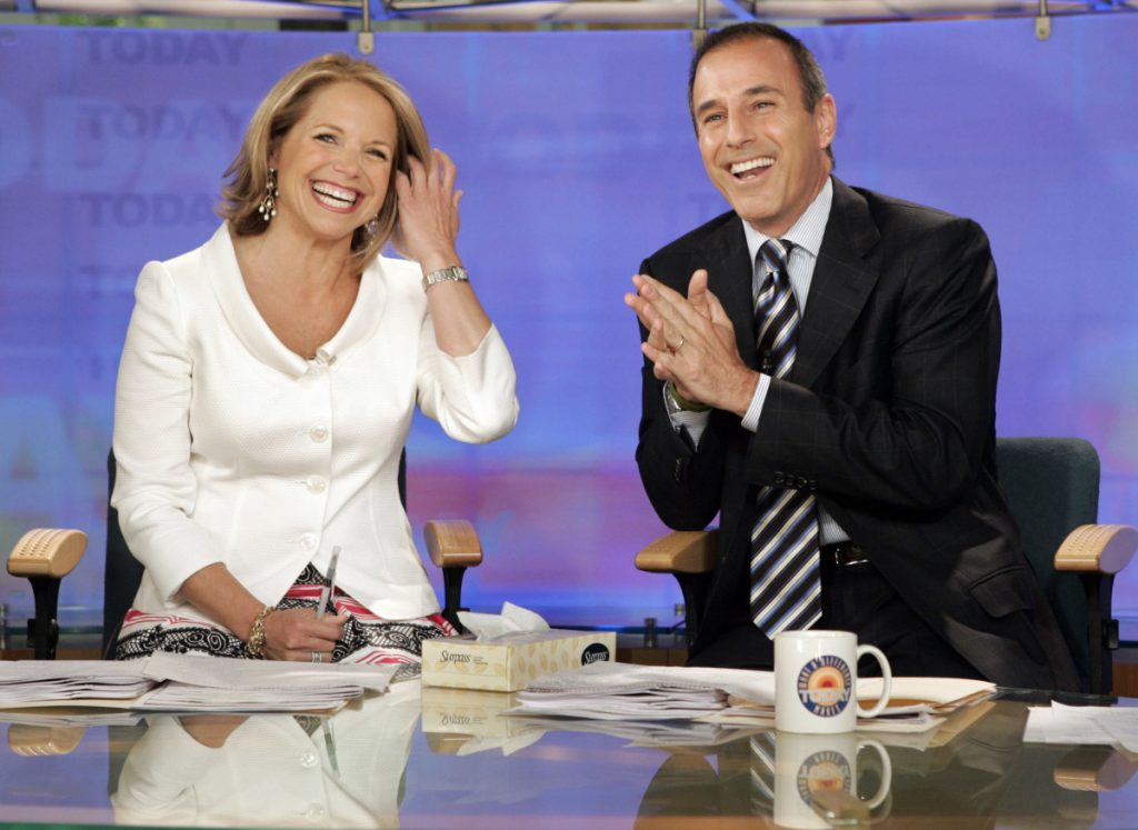 "Katie Couric and Matt Lauer, co-hosts of the NBC ""Today"" program, open her farewell broadcast in New York in 2006. Associated Press/Richard Drew"