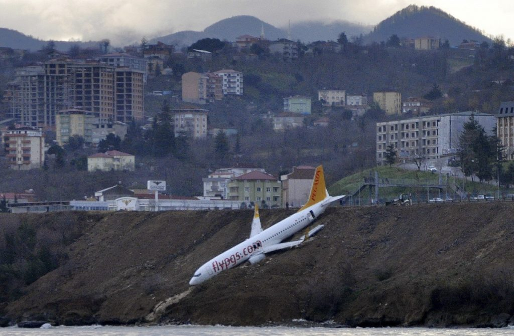 A Boeing 737-800 of Turkey's Pegasus Airlines skidded off the runway downhill toward the sea at the airport in Trabzon, Turkey, on Sunday.