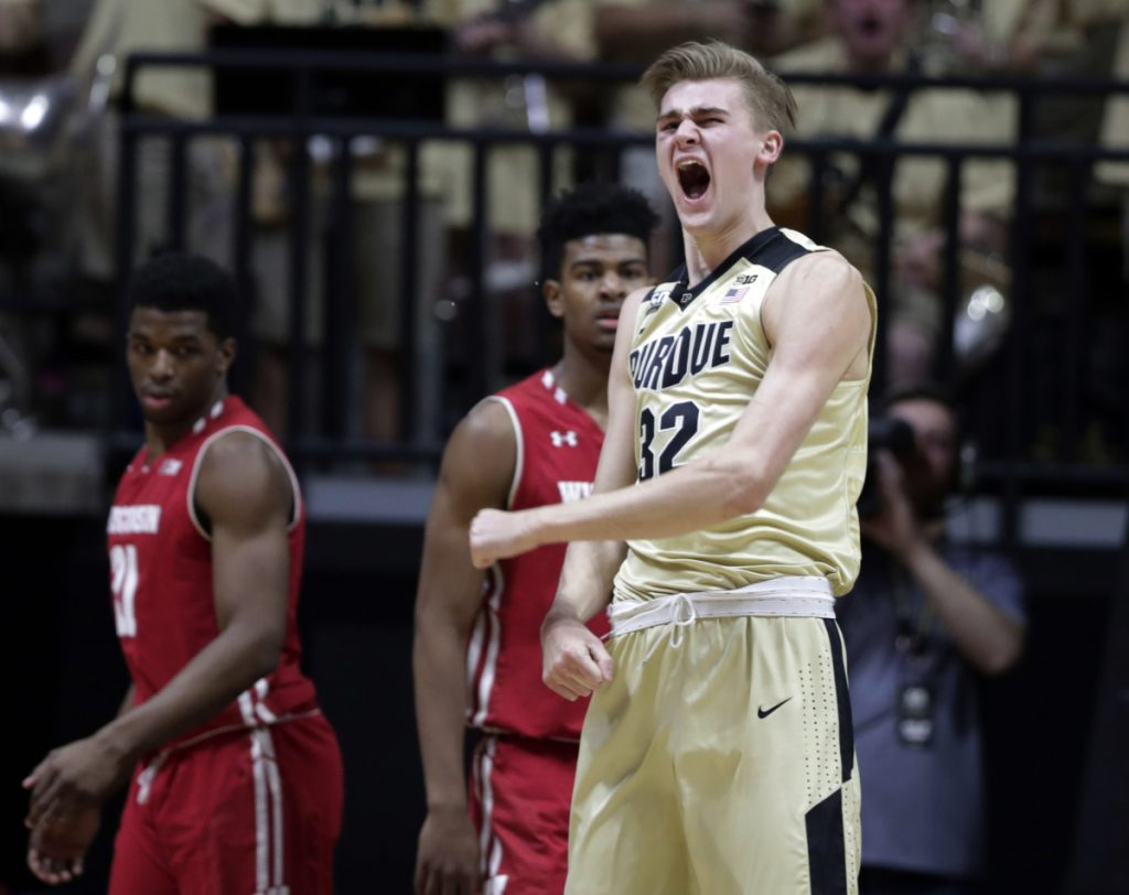 Purdue forward Matt Haarms shows some emotion in the first half of Tuesday's game against Wisconsin in West Lafayette, Ind. The third-ranked Boilermakers cruised to a 70-58 win and improved to 18-2 on the season.