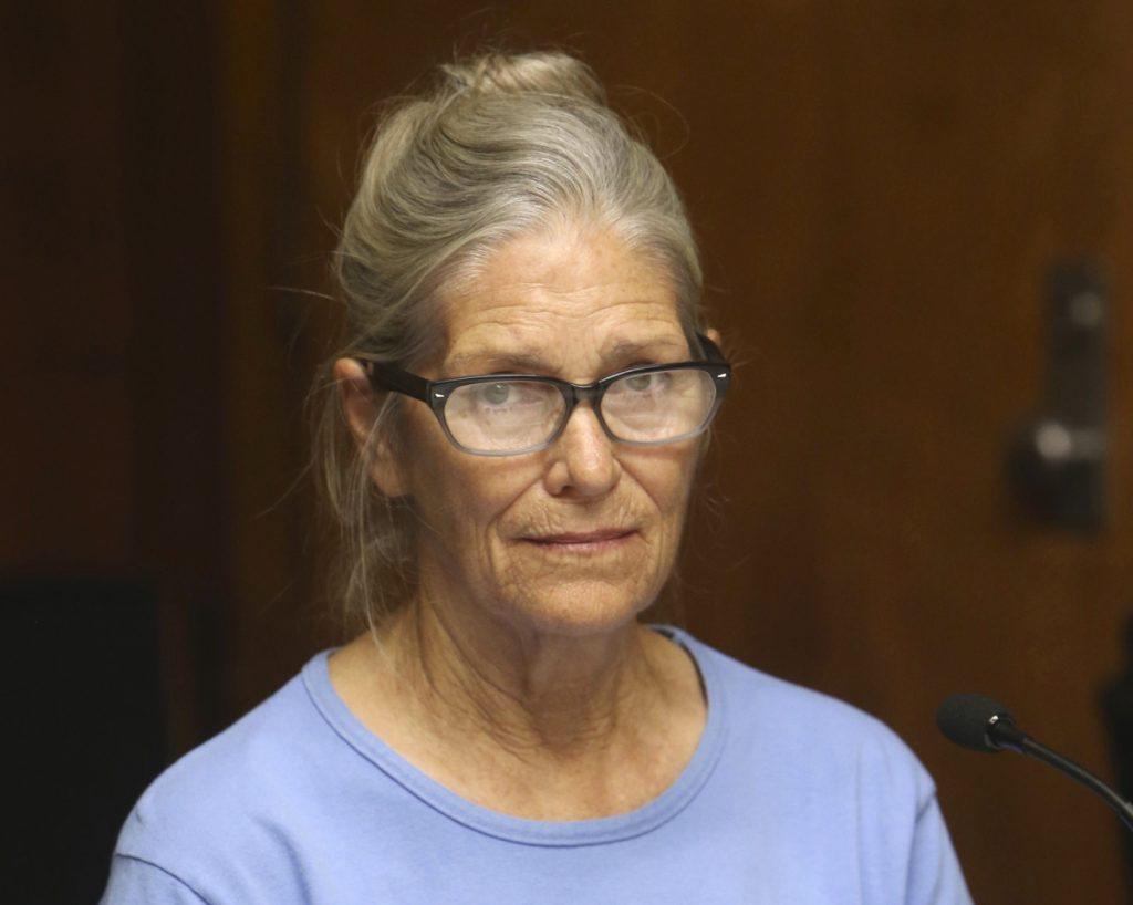 Leslie Van Houten attends her parole hearing at the California Institution for Women in Corona. California Gov. Jerry Brown has again denied parole for Van Houten, the youngest follower of murderous cult leader Charles Manson. Brown said in his decision Friday that despite Van Houten saying at her parole hearing that she accepts full responsibility for her crimes, she still lays too much of the blame on Manson, who died two months ago.