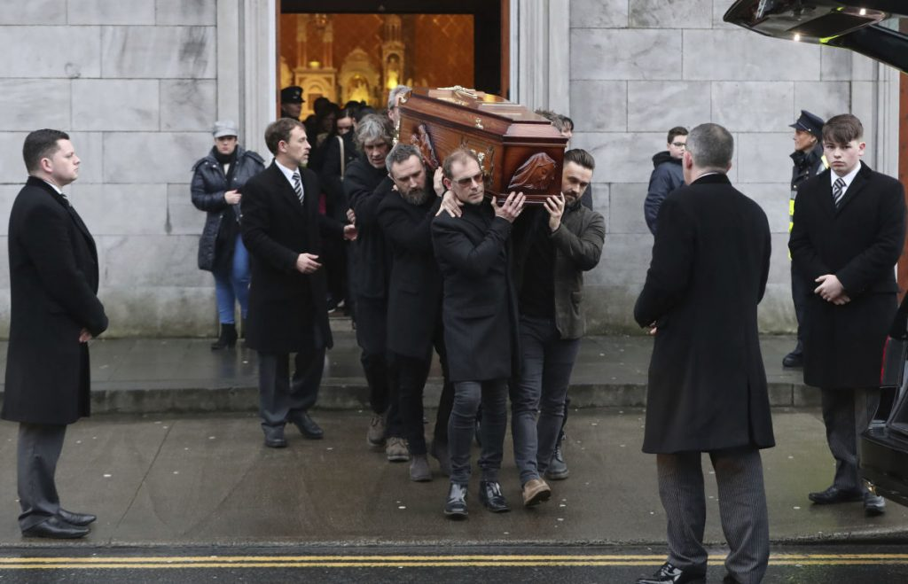 The coffin of Cranberries singer Dolores O'Riordan is removed from St Joseph's Church in County Limerick, Ireland on Sunday. O'Riordan, 46, was found dead last week at a London hotel.
