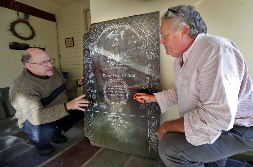 Walter Skold, left, and gravestone carver Michael Updike discuss the design of Skold's future tombstone, in Newbury, Mass., in December. Skold suffered a heart attack and died in Elkins Park, Pa., on Saturday, where he had recently moved from Freeport, Maine.
