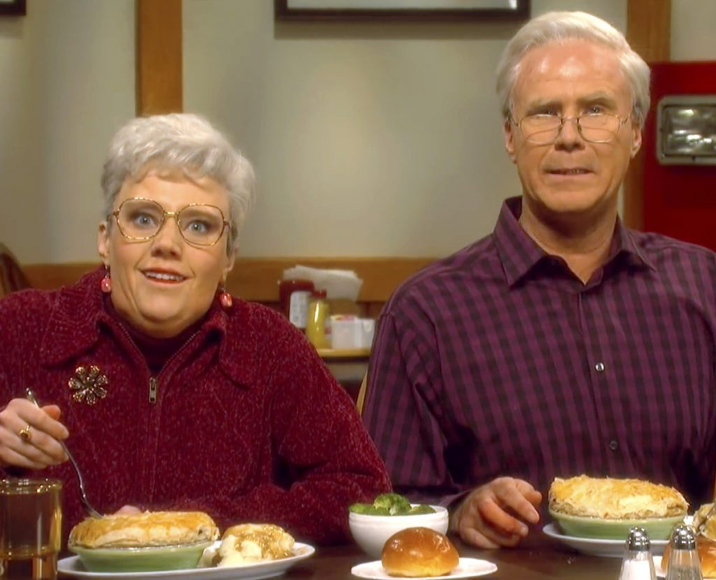 """The clothing and decor nearly match in the 2012 Dysart's ad involving Jack and Sonya Palmer, far left, and actors Will Ferrell and Kate McKinnon on """"SNL"""" Saturday. Live."""""""