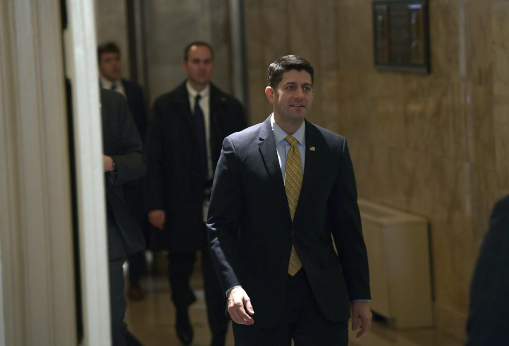 House Speaker Paul Ryan of Wis., arrives on Capitol Hill in Washington, Monday, Jan. 29, 2018. (AP Photo/Susan Walsh)