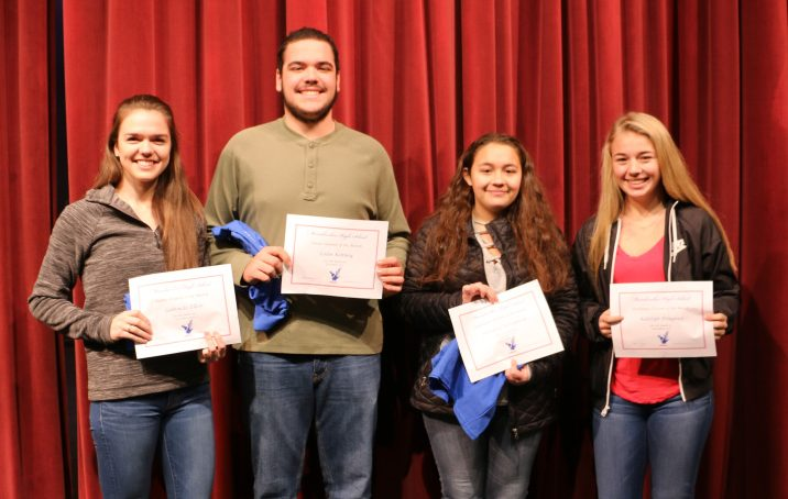 Messalonskee High School December Students of the Month from left are Gabrielle Elkin, Colin Kinney, Victoria Terranova and Katelyn Douglass.