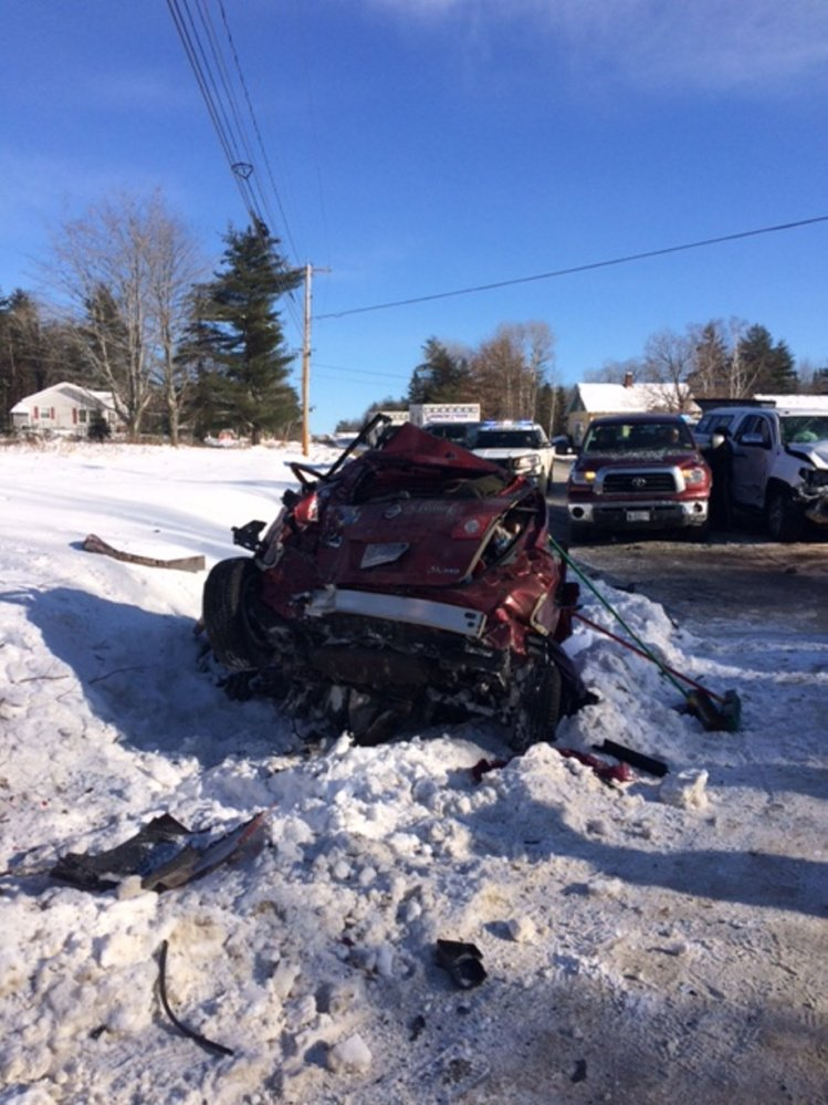 This red Nissan Rogue, being driven by Maureen Herlihy, of Walpole, Massachusetts, failed to stop at a stop sign and struck a white Toyota Tundra being driven by Morgan Huffman, of Ohio, on Sunday morning on Route 148 in Madison. Three people were injured.