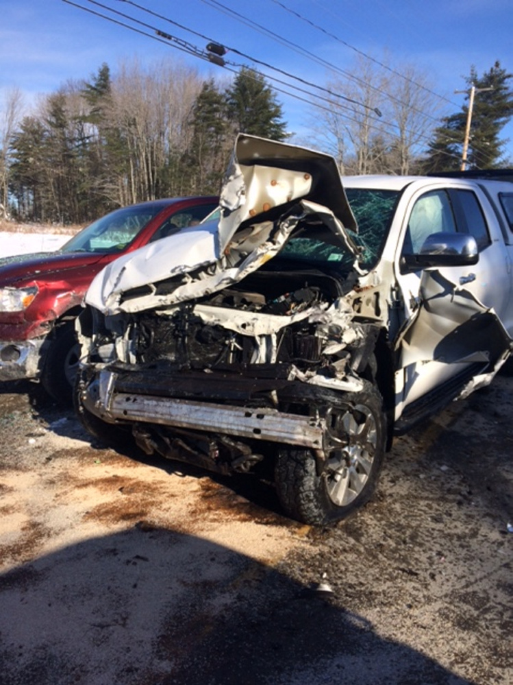 This white Toyota Tundra was struck in a Sunday morning crash in Madison by a Nissan Rogue on Route 148, sending three people to the hospital, one with possible serious injuries.