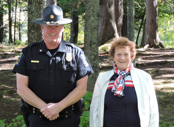 Eunice Farnsworth-Ruth Heald Cragin Chapter, National Society Daughters of the American Revolution chapter regent Shirley Emery, of Madison, with Skowhegan Chief of Police David Bucknam, who was the chapter's honored guest during the rededicating of the Sundail Monument at Coburn Park in Skowhegan.