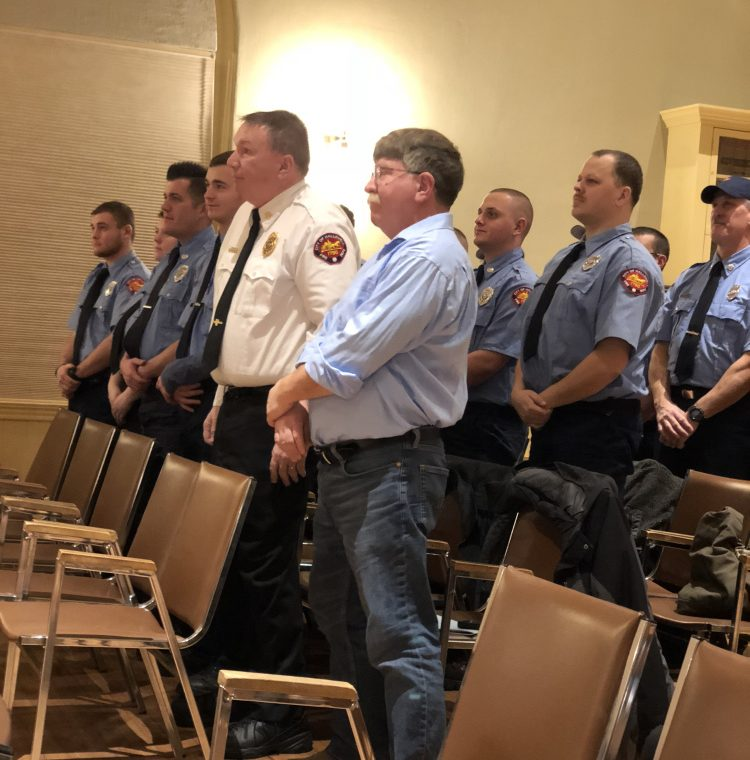 Members of the Hallowell Fire Department, including Chief Jim Owens, in white, attend the mayor's annual address Tuesday at Hallowell's inauguration ceremony.