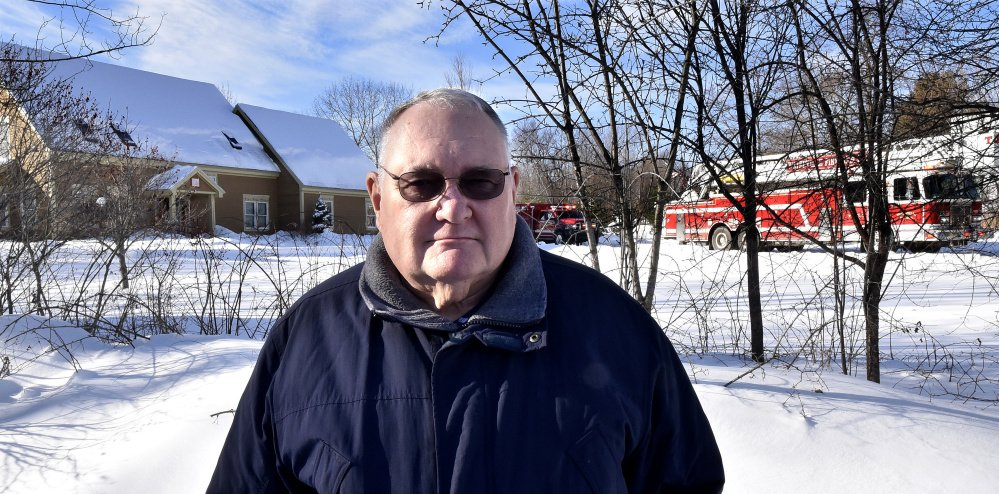 "On the Trafton Road in Waterville near his neighbor's home that was seriously damaged by fire on Wednesday, Harold ""Dusty"" Woodside said, ""It's an awful shame this happened. They are wonderful people."""