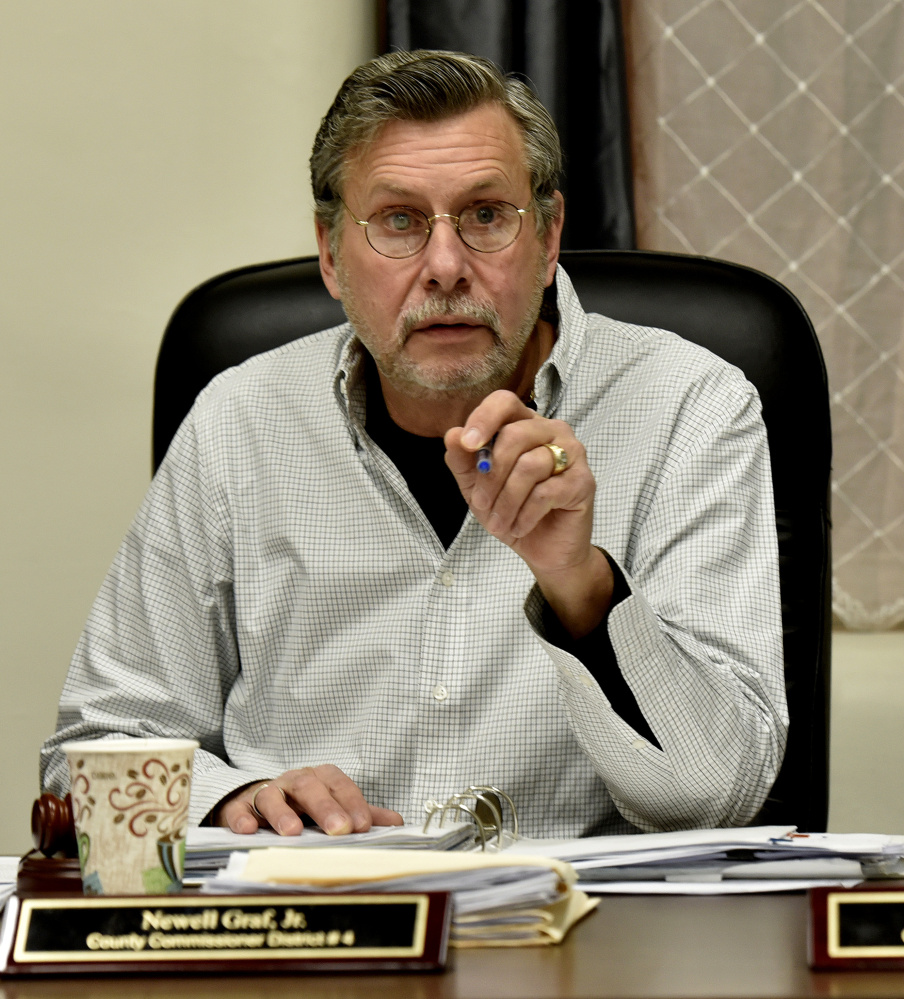 Somerset County Commission Chairman Newell Graf Jr. makes a point during a meeting in Skowhegan on Wednesday.
