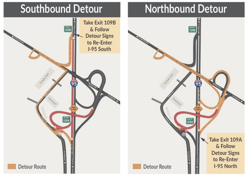 Maps illustrate north and south detours for exit 109 off Interstate 95 in Augusta planned for this weekend as part of ongoing overpass work.