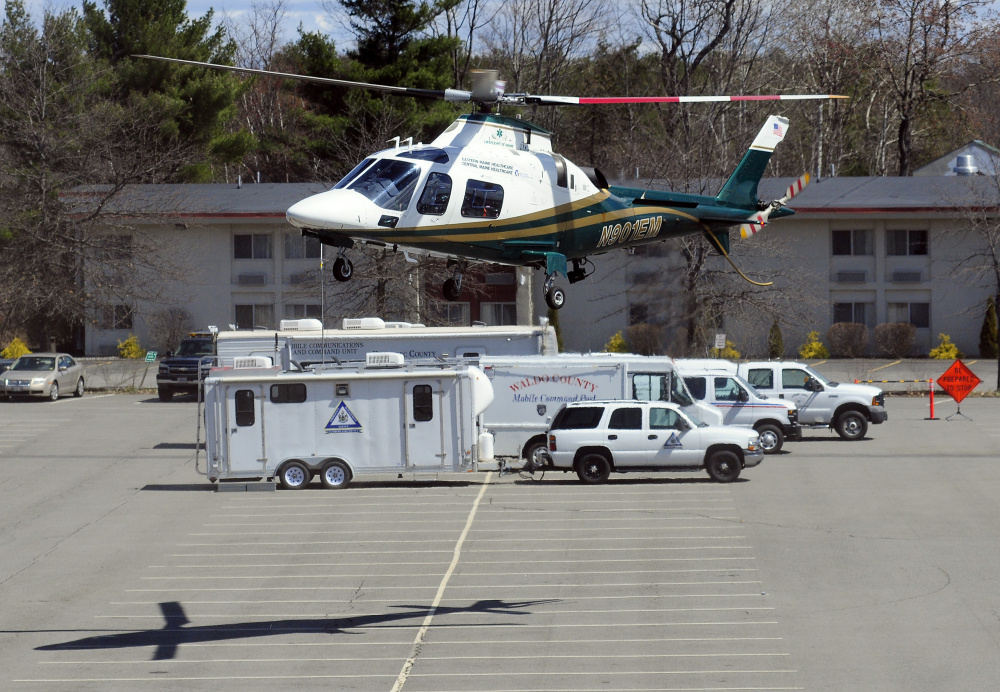A Lifeflight air ambulance comes in for a landing in April 2016 in front of county emergency management command centers at the Augusta Civic Center. In conditions that include ice, snow or low clouds, among others, LifeFlight helicopters cannot land at the Rangeley airport, and the current runway is too short for the LifeFlight fixed-wing airplane.