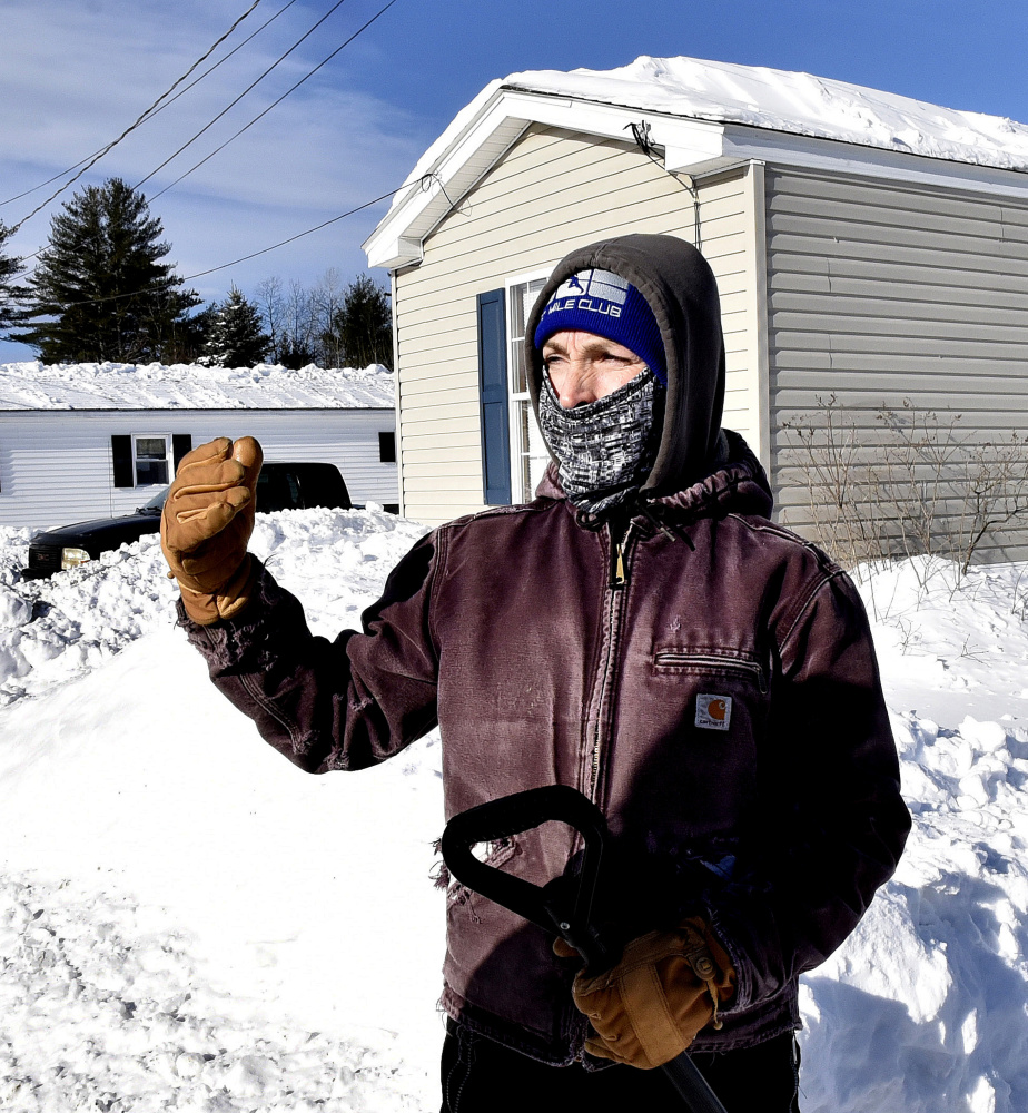 Sandy Knight, a resident at Harvey's Mobile Home Park in Skowhegan on Sunday speaks about neighbor William Lashon who was discovered dead on Saturday. Lashon may have succumbed to an electrical fire inside a theater room full of projection equipment, according to fire officials.