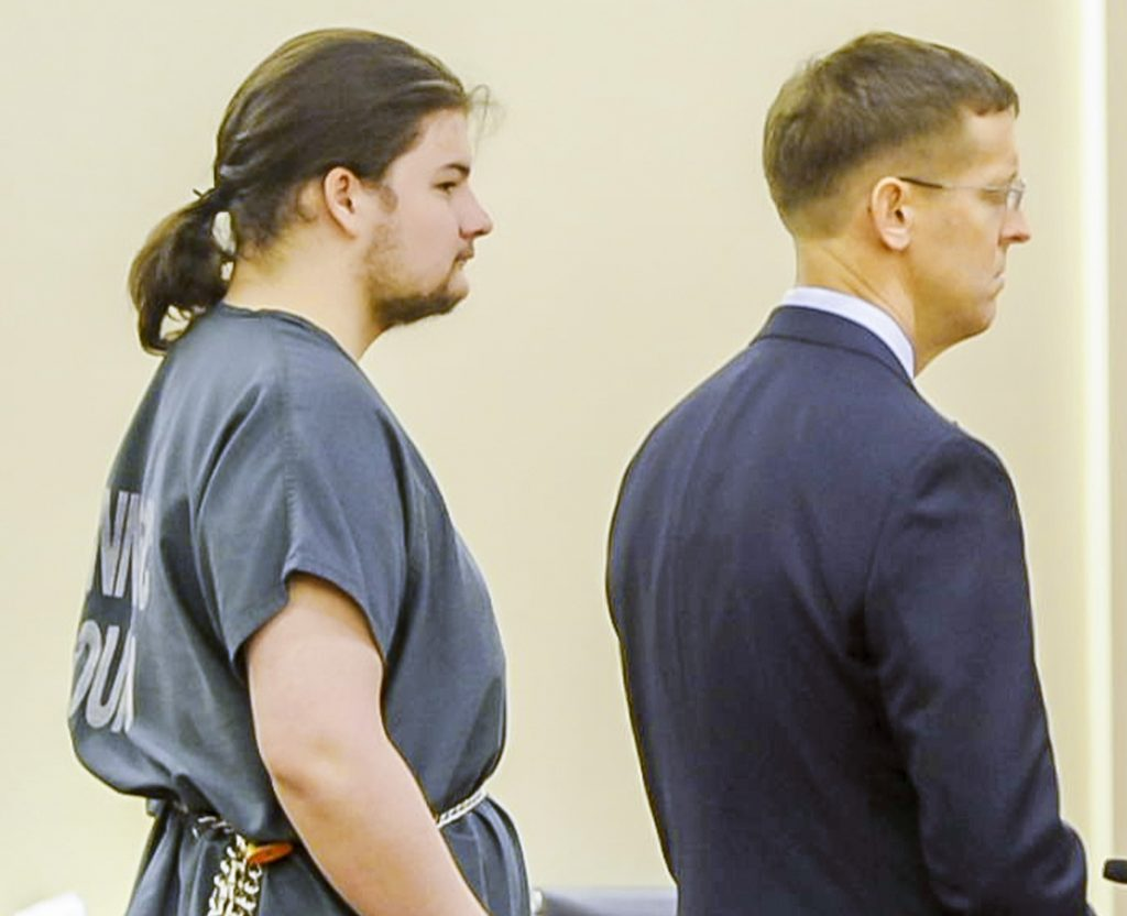 Andrew Balcer is seen during his arraignment Friday on two murder charges and one of animal cruelty in the Capital Judicial Center in Augusta.