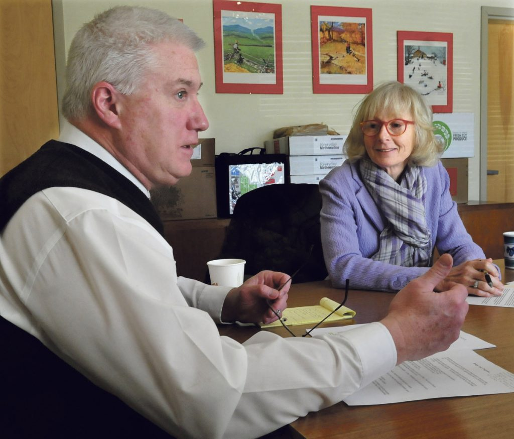 The Winslow School Board voted to hire Peter Thiboutot, pictured here in March 2015 with Ann Schoenthaler-Ervin, of the Coburn organization, as superintendent if Alternative Organizational Structure 92 is dissolved in a vote this spring by the three communities that make up the organization.
