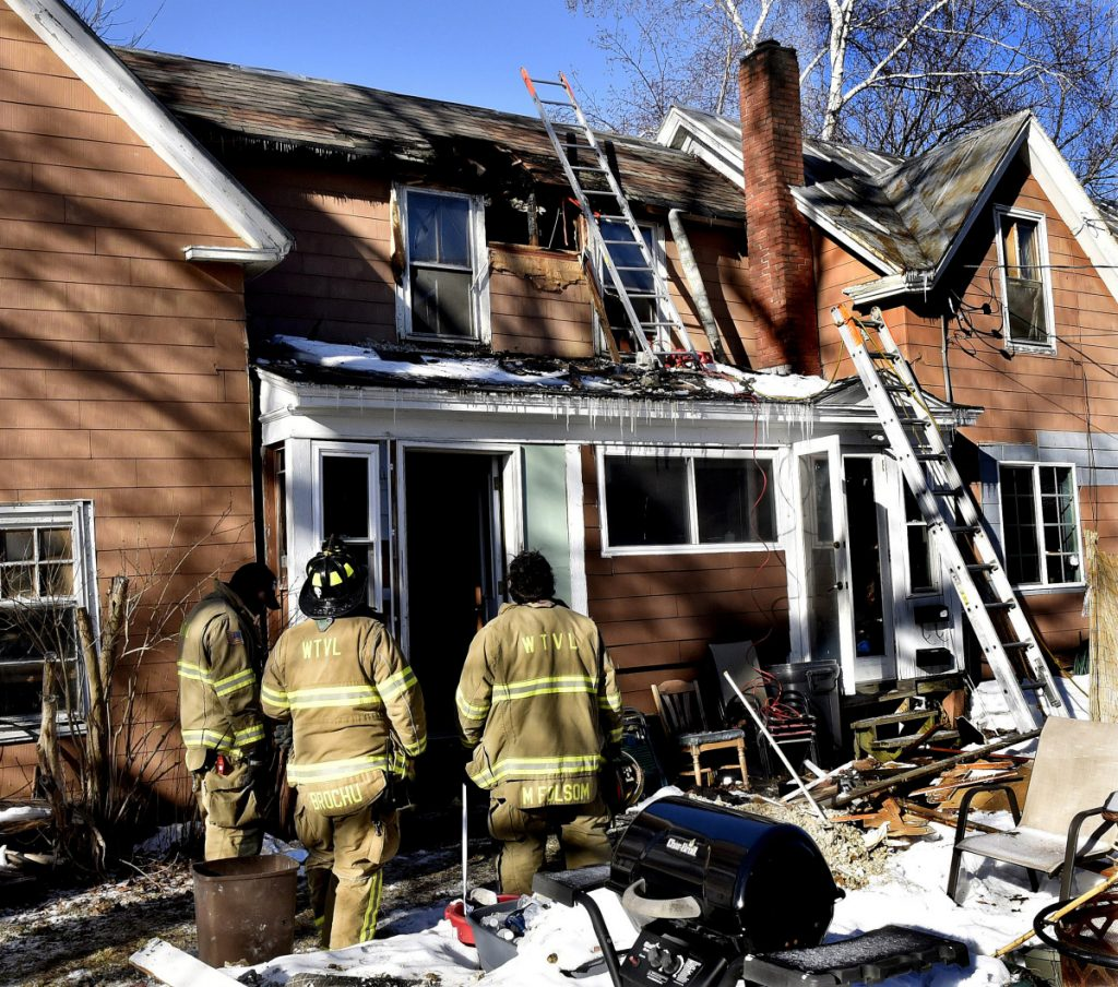 Waterville firefighters responded to a blaze at 10 Gold St. in Waterville where fire caused serious damage to the second floor roof on Sunday.