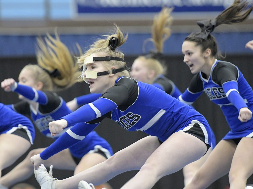 Erskine cheerleaders do their routine during the Kennebec Valley Athletic Conference championships Monday in Augusta.