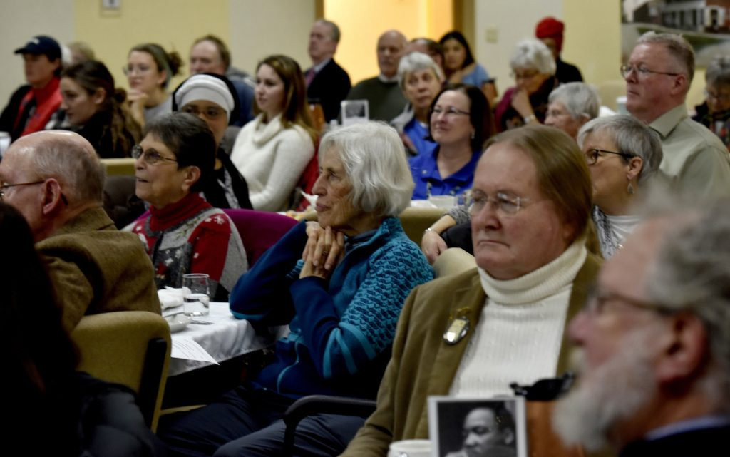 The Muskie Center in Waterville was filled with people who listened to speakers and musicians during the 32nd annual Martin Luther King Jr. Community Breakfast on Monday.