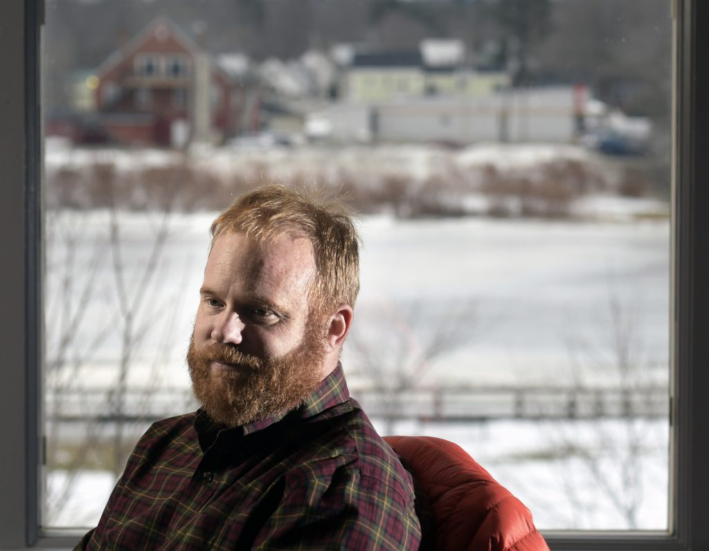 Patrick Wright discusses his resignation as Gardiner's economic development officer from his office overlooking the Kennebec River in Gardiner.